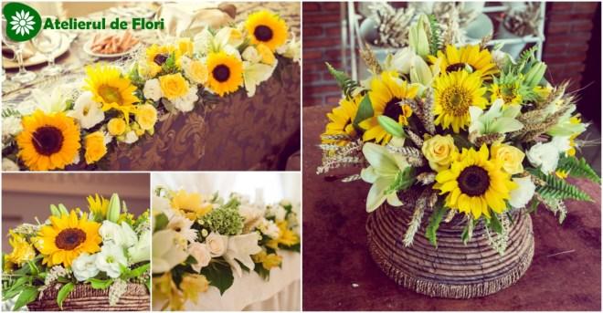 Aranjamente florale nunti cu floarea soarelui