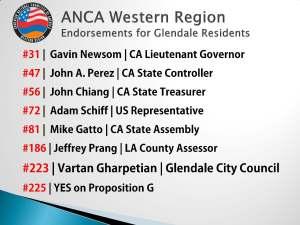 ANCA WR Endorsements for Glendale Residents