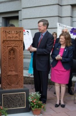 Photo 3 - Governor John Hickenlooper at April 24, 2015 Colorado State Capitol Khachkar unveiling - Photo by Kevo Hedeshian