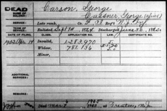 Civil War Pension Card George Carson