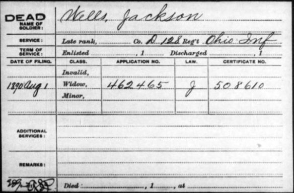 Civil War Pension Card Jackson Wells