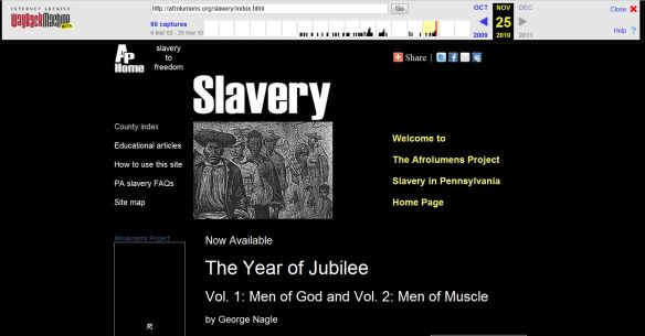 Cached Afrolumens Project page for slavery in Pennsylvania