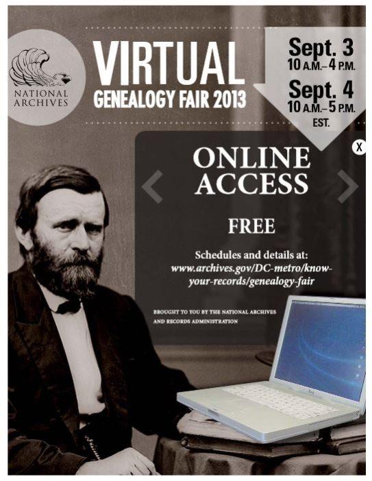 NARA Virtual Genealogy Fair 2013 flyer