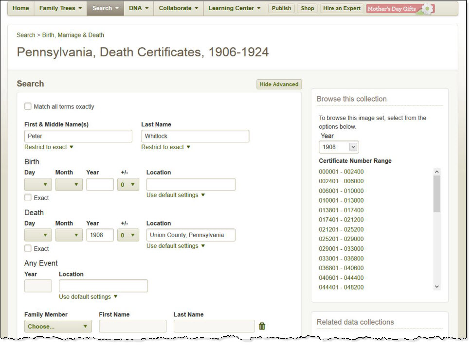 Pennsylvania Death Certificate Of Peter Whitlock Ancestor