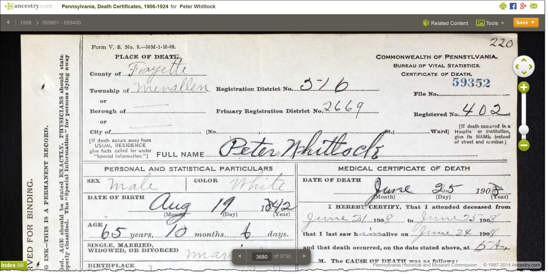 Pennsylvania death certificate of peter whitlock ancestor roundup 9 pa death cert 59352 peter whitlock xflitez Gallery