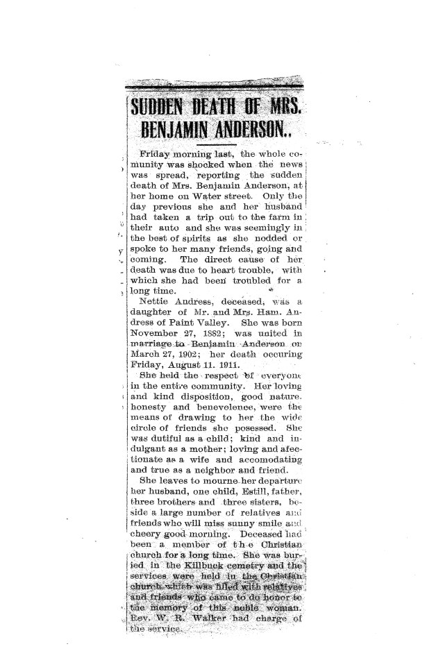 Nettie Anderson Obituary. 1910