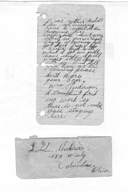 Bill Anderson note to parents 1924