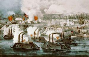 Gunboats at Arkansas Post battle