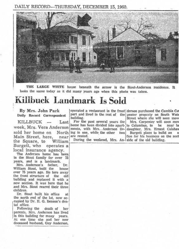 Stout-Anderson house newspaper article