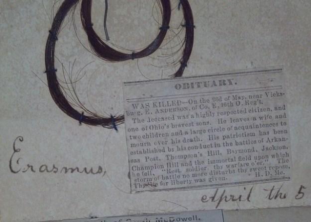 Erasmus obituary and lock of hair