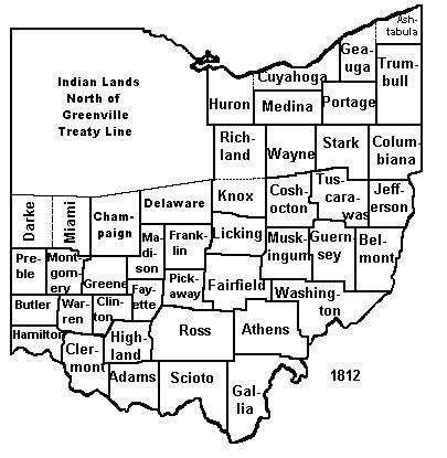 1812 map of Ohio counties