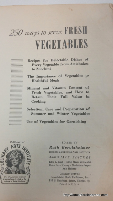 Vegetable cookbook inside cover