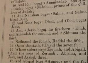 Bible begats--odd names
