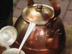 Colonial tea kettle and tea cup