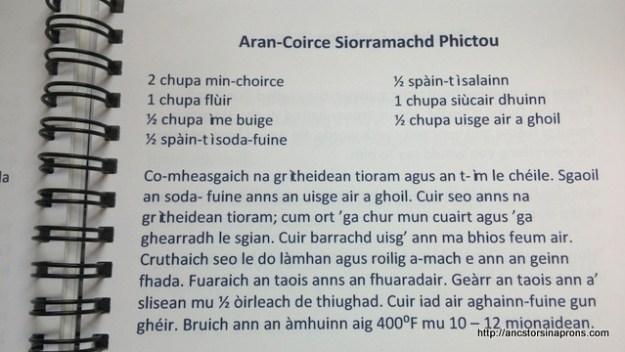 Oatcake recipe in Gaelic.