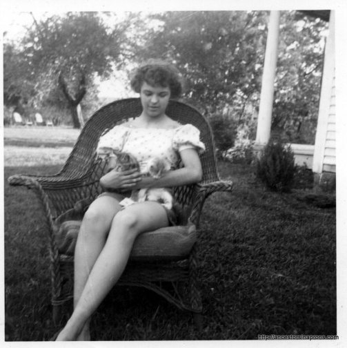 VMB 1952 with kittens, Killbuck house