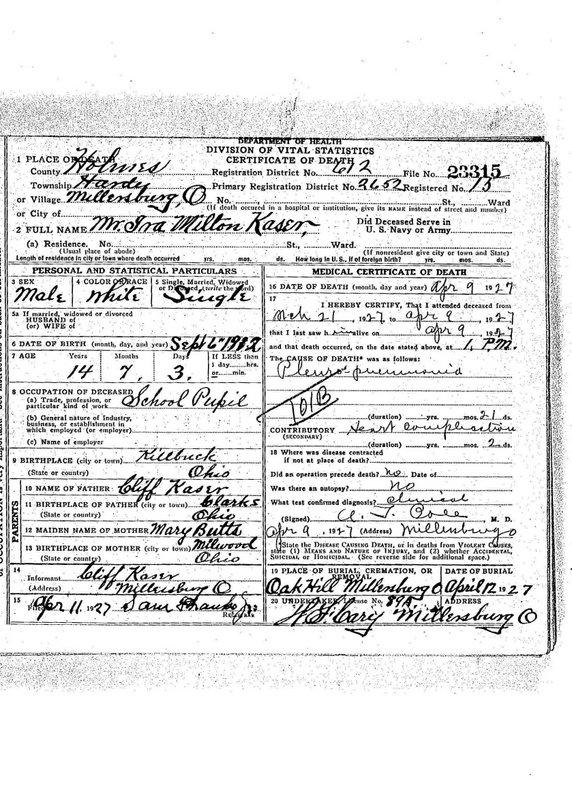 Milton Kaser Death Certificate