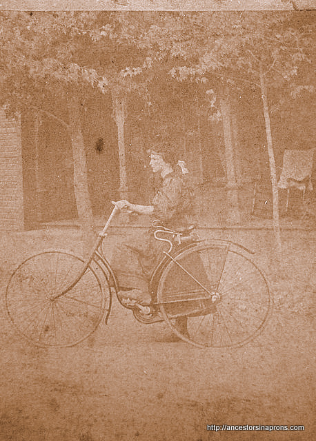 Vera Stout Anderson on her bike.