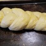 Bread dough buttered
