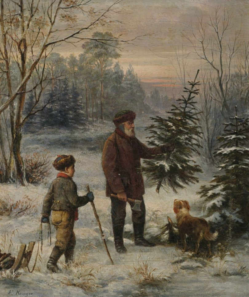 Father and son with their dog collecting a tree in the forest, painting by Franz Krüger (1797–1857)