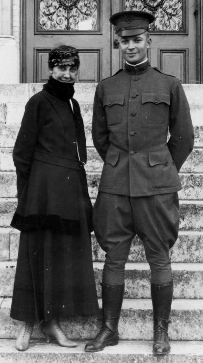 Mamie Eisenhower, with her husband, Dwight, on the steps of St. Mary's College, San Antonio, Texas, in 1916.