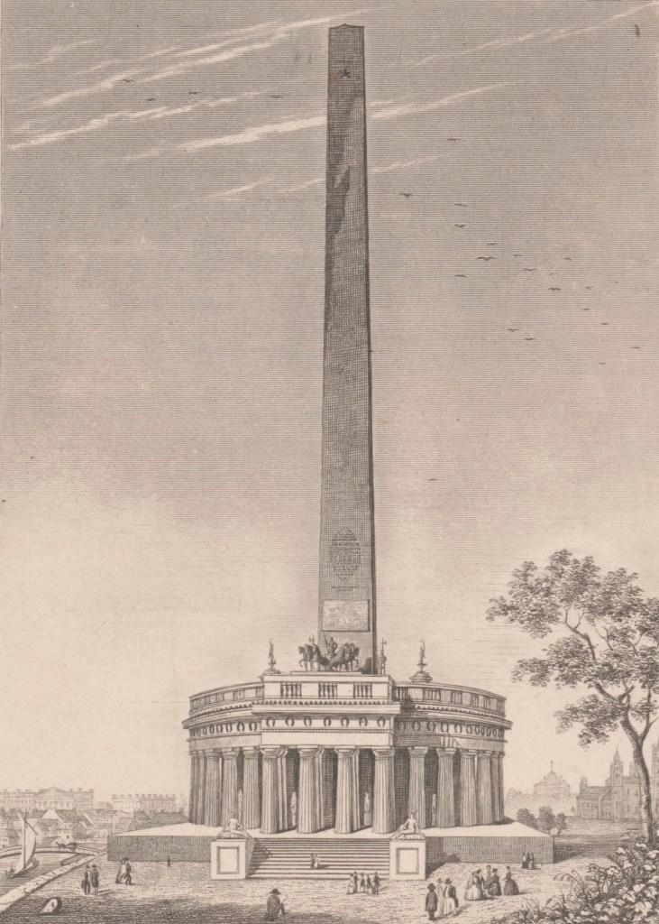 Print of the proposed Washington Monument by architect Robert Mills (circa 1845–1848)