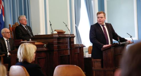 SIGMUNDUR DAVID GUNNLAUGSSON — The Prime Minister of Iceland (shown right) speaks about Panama Papers before ultimately resigning.