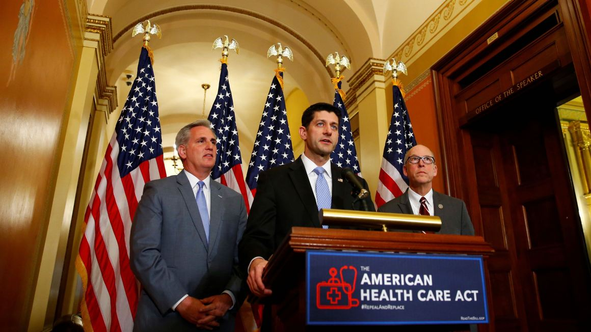 U.S. House Majority Leader Kevin McCarthy, U.S. House Speaker Paul Ryan, and U.S. Representative Greg Walden hold a news conference on Capitol Hill in Washington