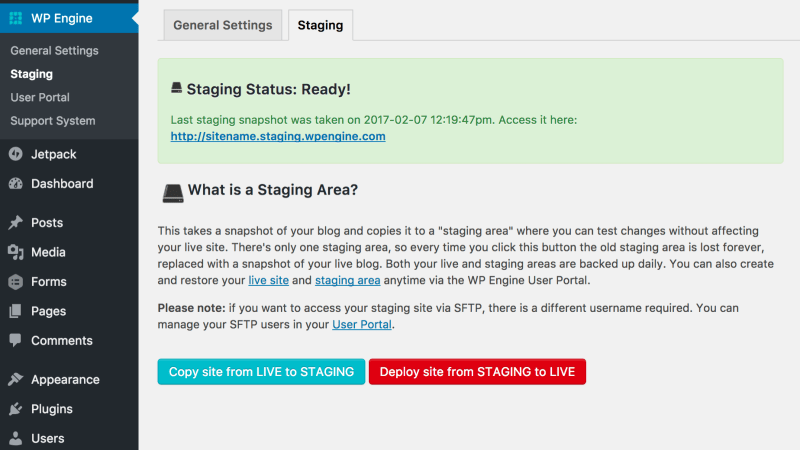 Use a Staging site to Solve Problems
