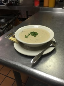 Delicious New England Clam Chowder with Fresh Parsley.