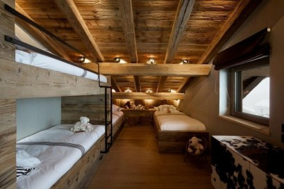 Bunk Beds with Wooden Wall Design 05