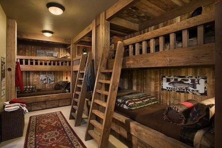 Bunk Beds with Wooden Wall Design 10