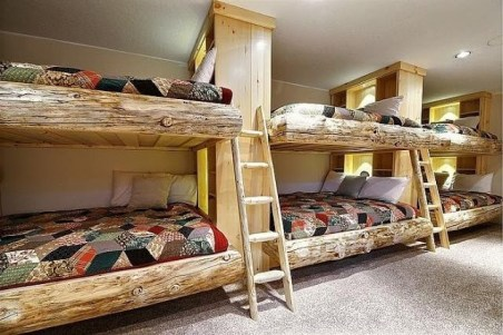 Bunk Beds with Wooden Wall Design 11
