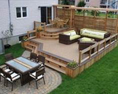 Easy DIY Wooden Deck Design For Backyard 30