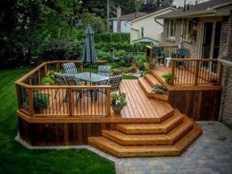 Easy DIY Wooden Deck Design For Backyard 35