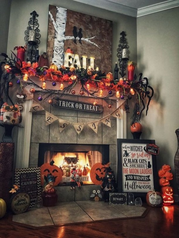 Elegant Halloween Mantel décor You Must Try In Halloween 2019 36
