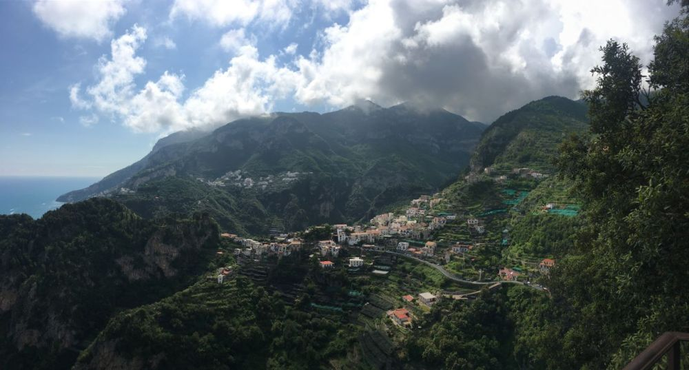 The view from one of the Ravello gardens, Villa Cimbrone. The hillside view is of the town of Scala.