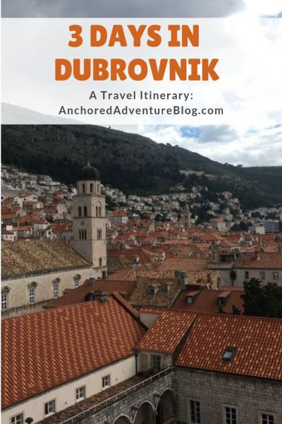 A pinterest graphic for spending 3 nights in Dubrovnik.
