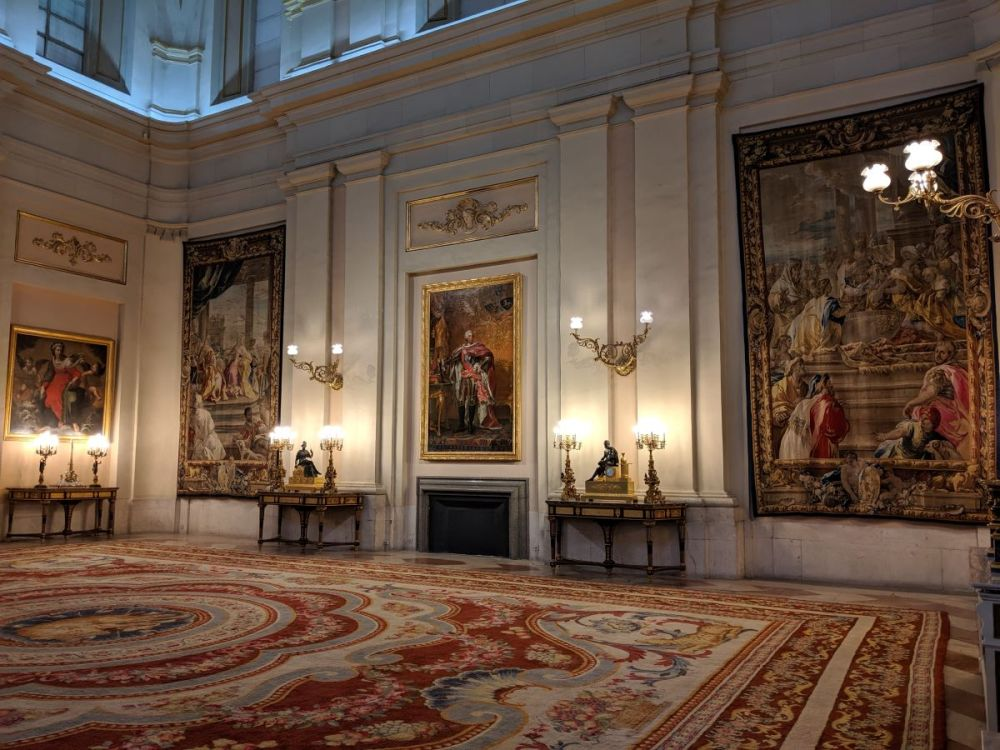 An elegant room in the Madrid Royal Palace.