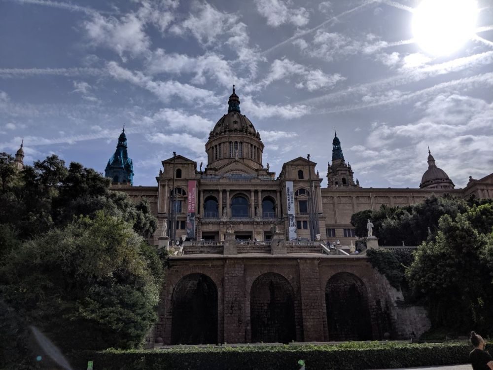 The exterior of a massive building, Montjuic, in Barcelona
