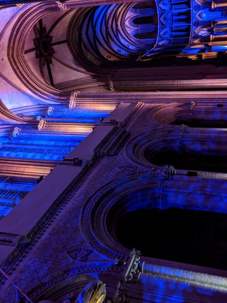 Blue and Purple lights shine on the ceiling of the Bayeux Cathedral for the annual Light Show.