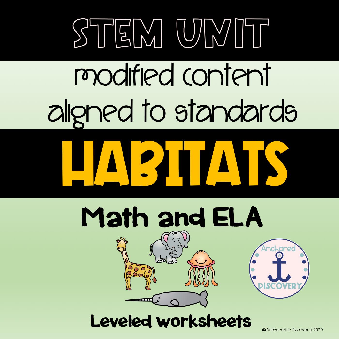 Habitats Themed Math And Ela Activities