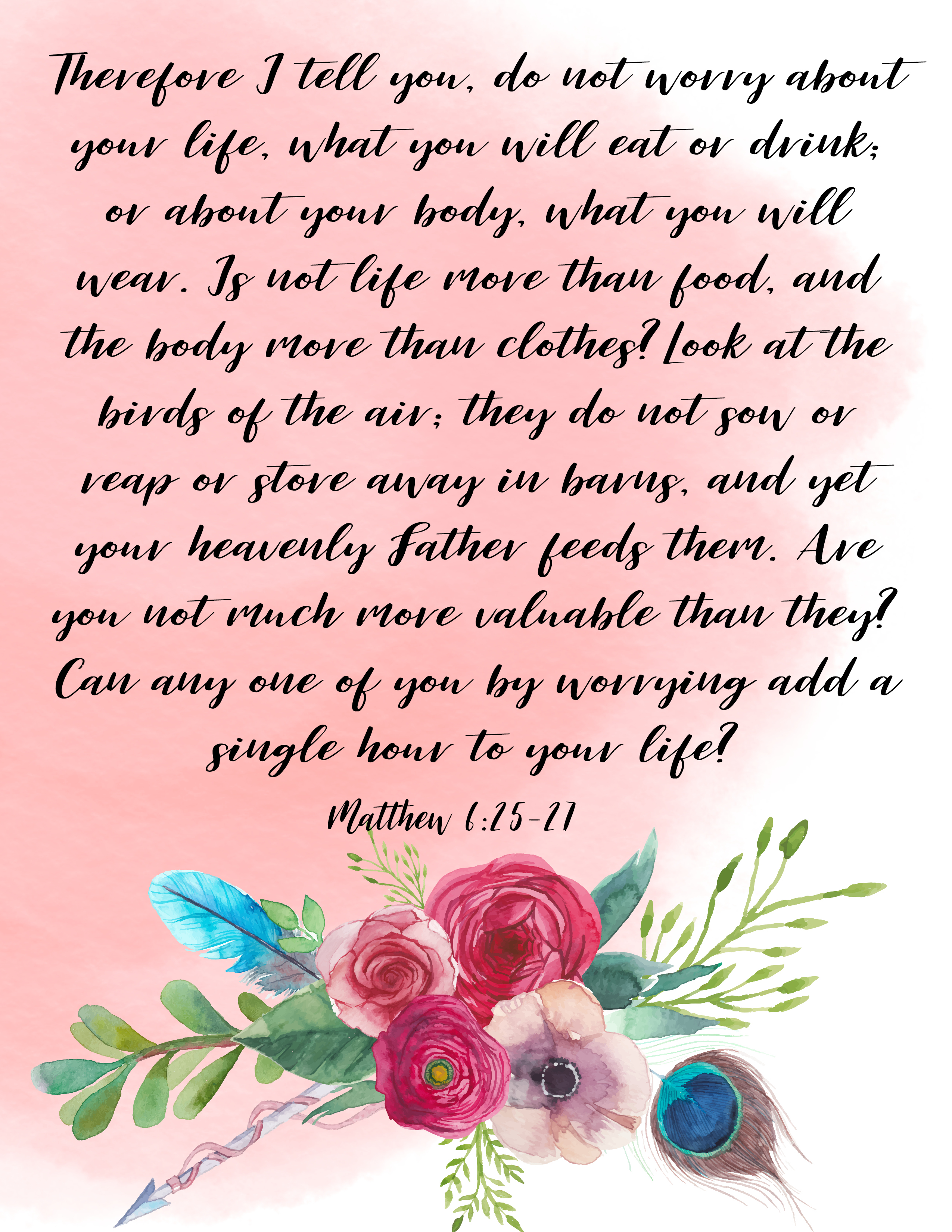 Anchored Printable Matthew 6 25 27 Anchored Voices