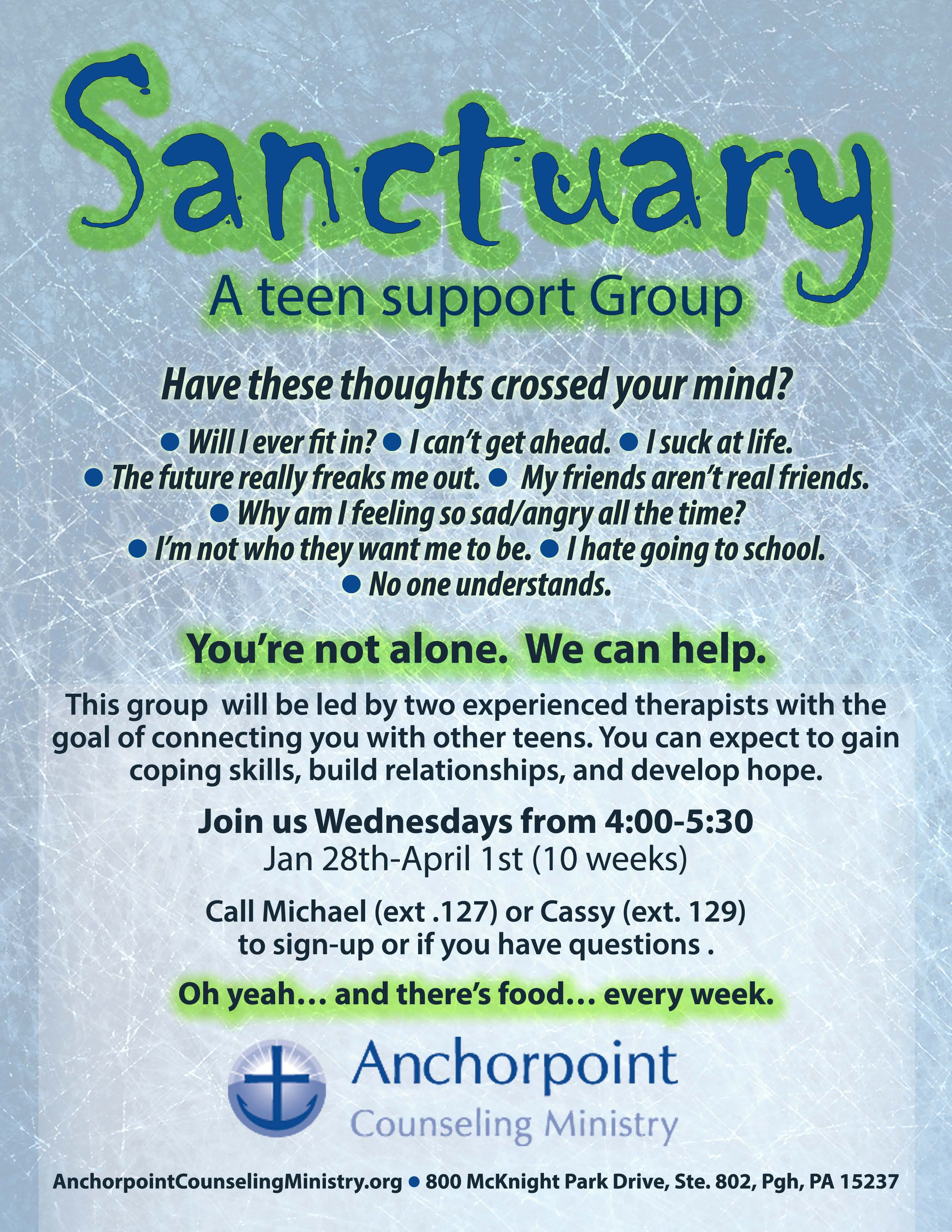 Sanctuary A Support Group For Teens Anchorpoint