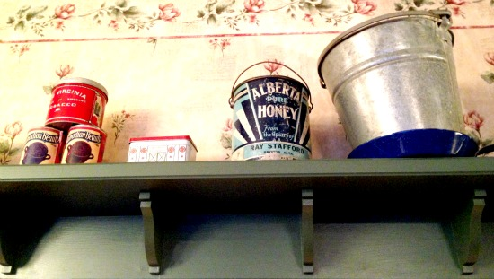 The antiques of the Athabasca reflect days gone by: Alberta Honey and Canadian beauty bean tins.