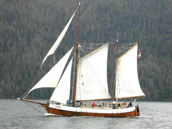 The Duen sails near Calvert Island on B.C.'s central coast.