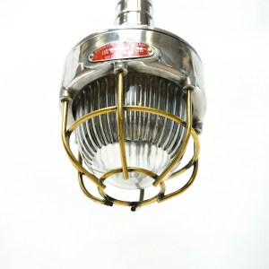 Portable Lamp, Glass with Large Ridges, Fence in Brass anciellitude