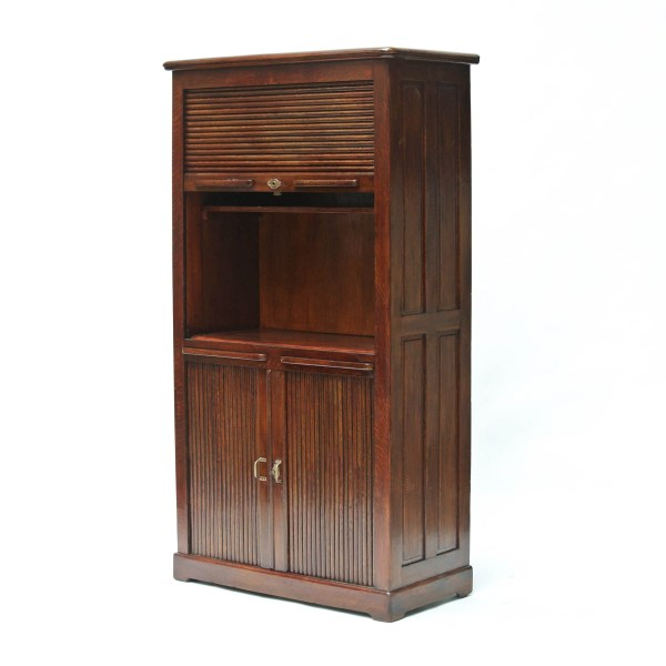 « Small » Vintage Notary Cabinet with Curtains anciellitude