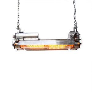 Industrial Explosion-Proof Fluorescent Light in Polished Cast Aluminium, Rewired 4 Bulbs. anciellitude