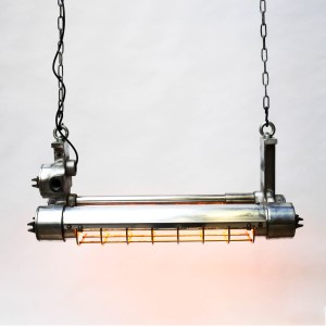 Double Explosion-Proof Fluorescent Light in Polished Cast Aluminium (4 bulbs version) anciellitude